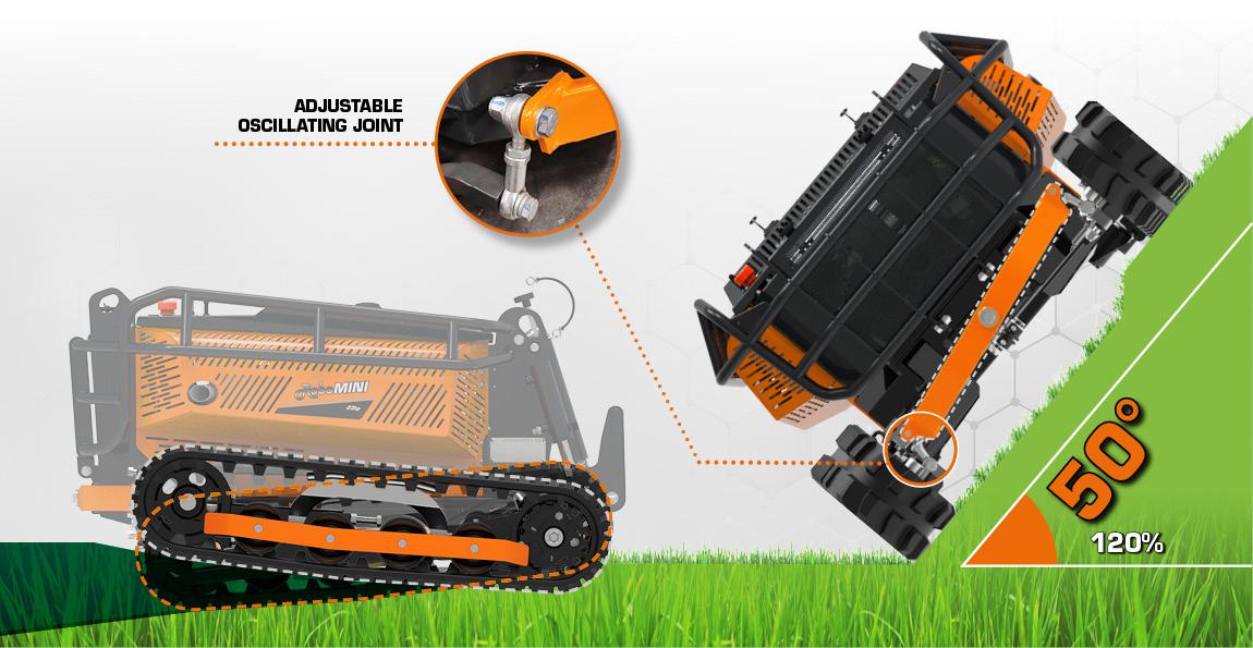 robomini - adjustable oscillating joints - energreen america professional machines