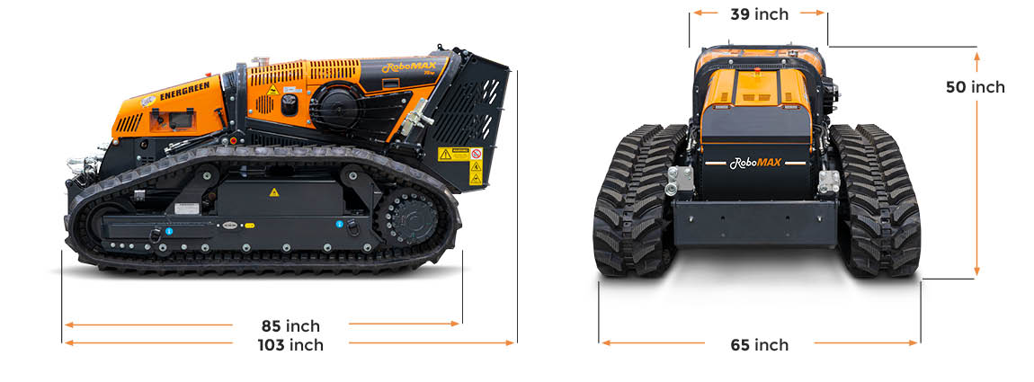 robomax - forestry mulcher - dimensions - energreen america professional machines