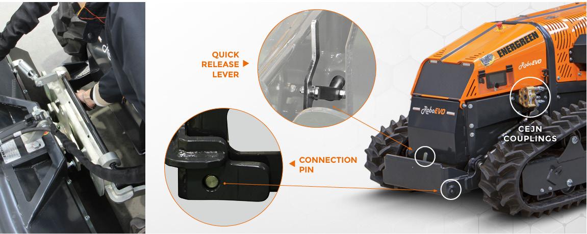 roboevo - radio controlled mulcher - front lifter attachment - energreen america professional machines
