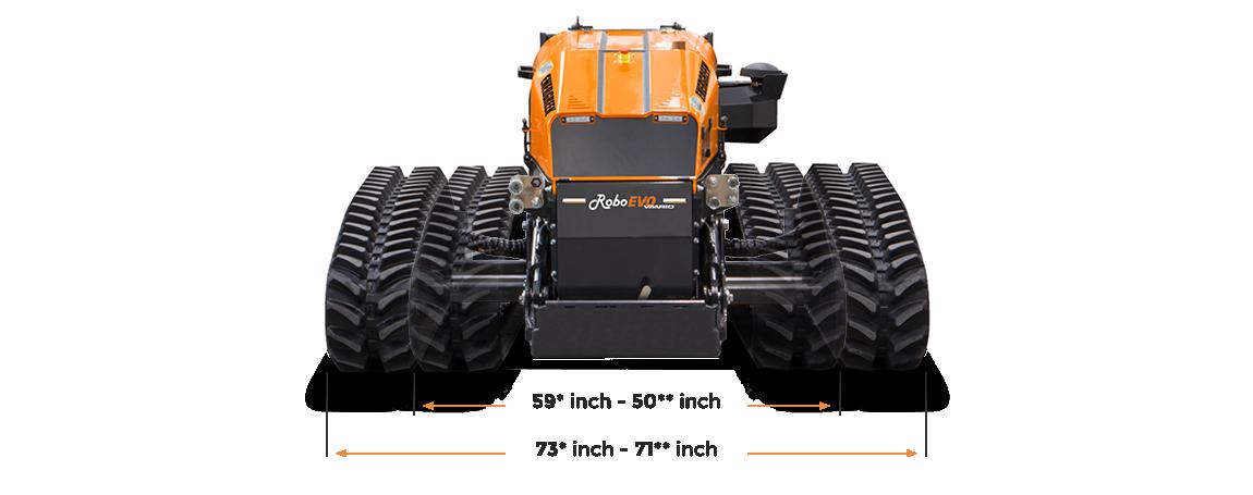 roboevo vaario - dimensions - remote operated mower - asjustable tracks - energreen america professional machines