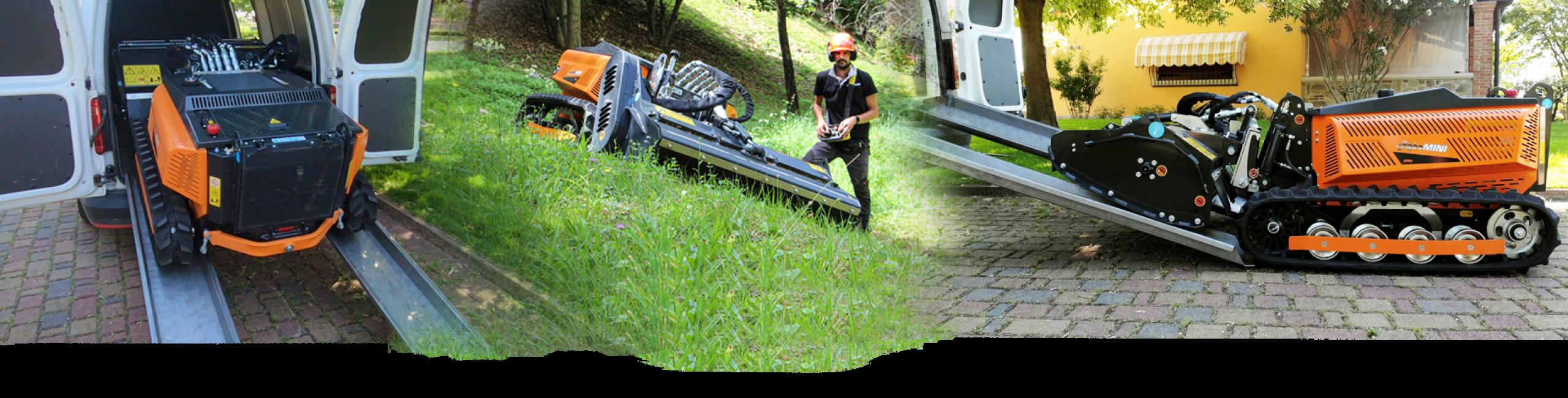 robomini - compact machine - remote controlled mower - energreen america professional machines