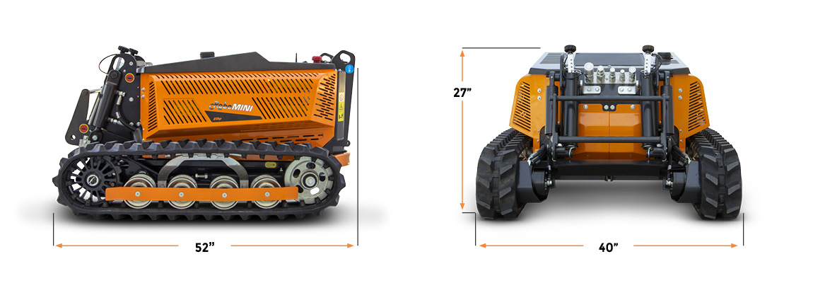 robomini - remote controlled mower - dimensions - energreen america professional machines